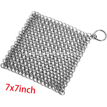 Stainless steel chain mail pot scrubber mesh